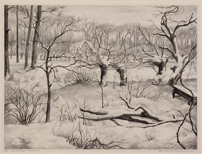 1065 Aart van Dobbenburgh | landschap in sneeuw 1938 0