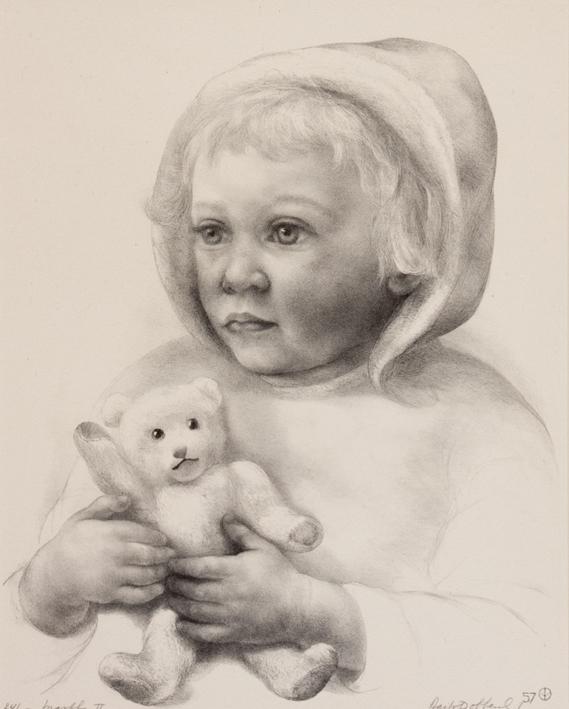 1116 Aart van Dobbenburgh | 2e portret van Marthy met pop 1957 3