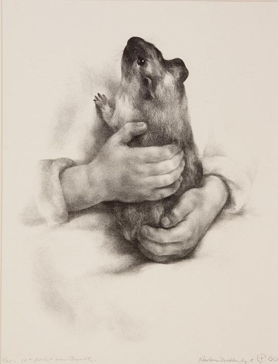 1147 Aart van Dobbenburgh | 12e portret van Marthy met marmotje 1960 7