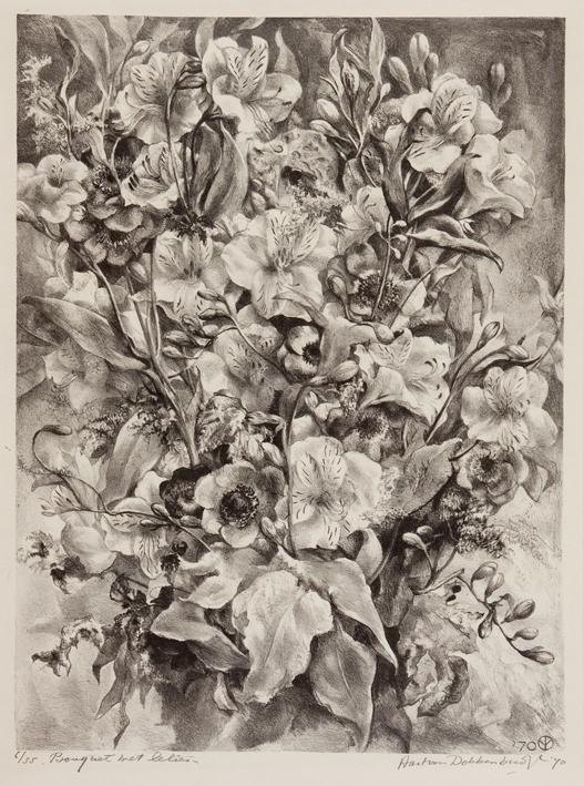 1158 Aart van Dobbenburgh boeket met lelies 1970 0
