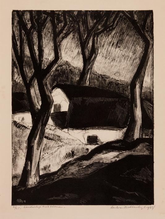 1160 Aart van Dobbenburgh | Landschap met boomen 1924 4